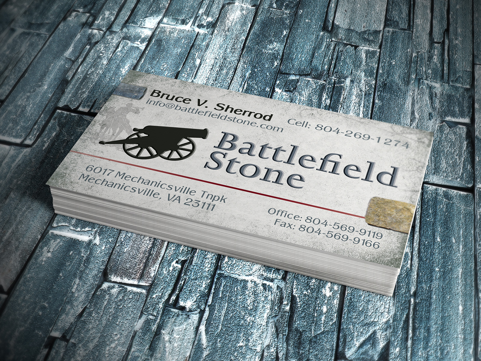Battlefield Stone Business Cards - Logo Advantage