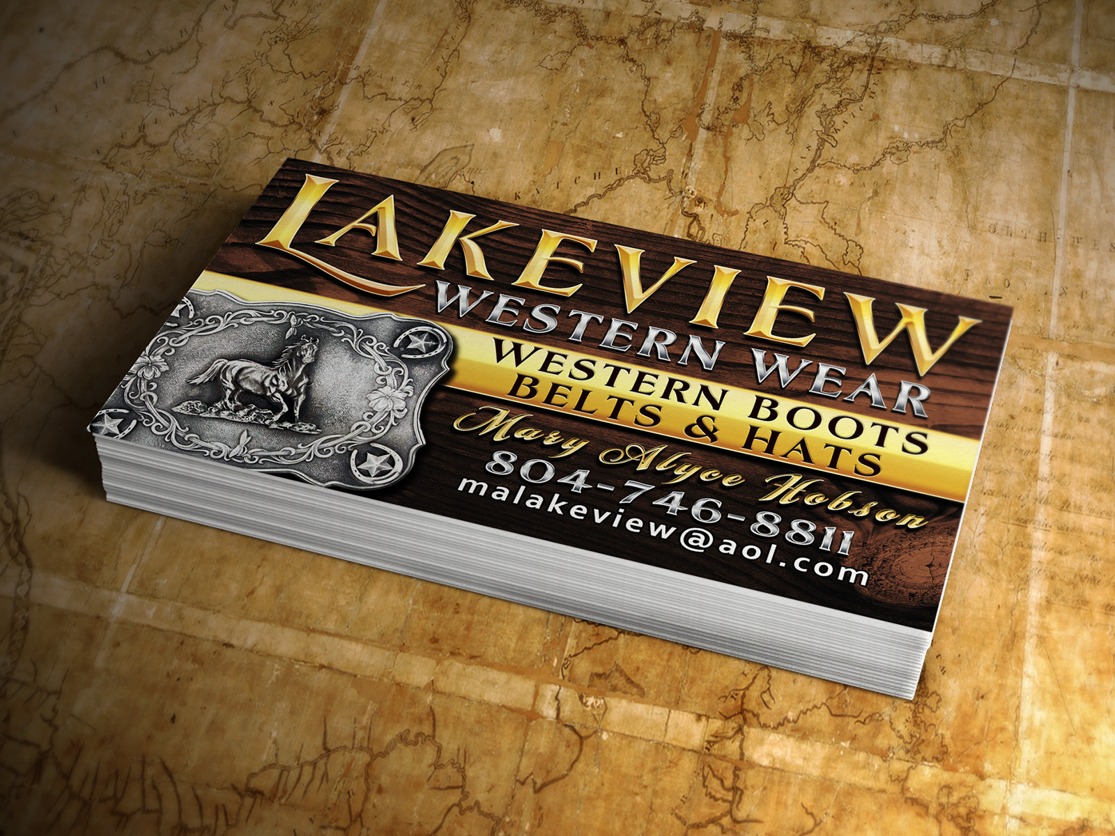 656971db2a9 Lakeview Western Wear Business Cards - Logo Advantage